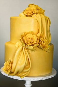 Sunflower Yellow draped wedding cake