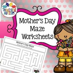 Mother's Day Mazes  This download comes in 3 different levels of difficulty.   Each maze also comes in col and b/w option.  12 different mazes included in total.  This is great for students improving fine motor skills, problem solving, concentration etc.  ★ Images linked to Mother's Day topic. ★