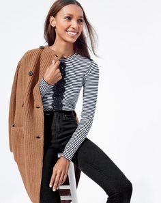 J.Crew women's Collection bonded-knit sweater coat, long-sleeve stripe T-shirt with lace and lookout high-rise jean in black. To pre-order, call 800 261 7422 or email verypersonalstylist@jcrew.com.
