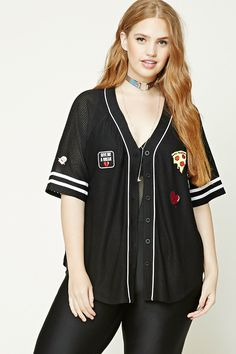 """Forever 21+ - A semi-sheer mesh baseball jersey featuring a button-down front, contrast piping, short raglan sleeves with varsity stripes, a curved hem, a back """"Mixed Emotions"""" patches, and """"Give Me A Break"""", """"OK, Whatever"""" with a hand as the """"O"""", pizza, heart, and ghost patches."""