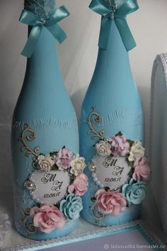 Свадебные аксессуары ручной работы. Декор бутылок. Лада Зайцева Свадебные аксессуары. Ярмарка Мастеров. Свадебные быки, цветы