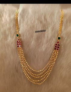 Gorgeous one gram gold necklace with multi layer bead chains. Necklace studded with multi color stones. 01 October 2019 Source by Jewelry Gold Necklace Simple, Gold Jewelry Simple, Gold Wedding Jewelry, Layered Necklace, Gold Ring Designs, Gold Earrings Designs, Gold Jewellery Design, Avery Jewelry, Jewelry Kits