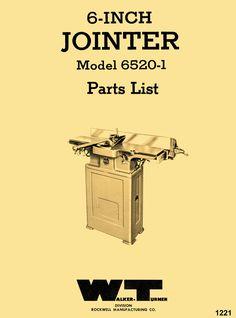 WALKER TURNER 6 inch Jointer 6520-1 Parts Manual - https://ozarktoolmanuals.com/machinemanual/walker-turner-6-inch-jointer-6520-1-parts-manual/ #WalkerTurner