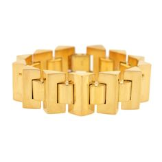 Retro Pyramidal Link Gold Bracelet | From a unique collection of vintage retro bracelets at http://www.1stdibs.com/jewelry/bracelets/retro-bracelets/
