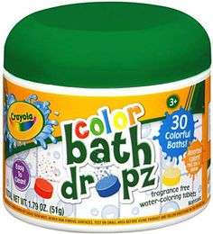 Crayola Color Bath Dropz... I didn't have this brand but the same concept, little tablets that changed the color of the bath water.