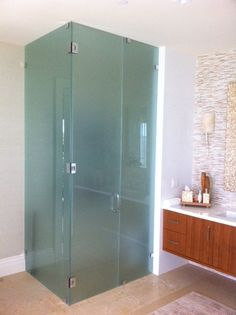Bathroom Remodeling Delray Beach Fl clear & frosted glass shower install - a-christian glass -delray