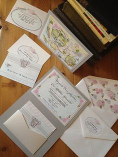 shabby chic calligraphy wedding invitations with watercolor map