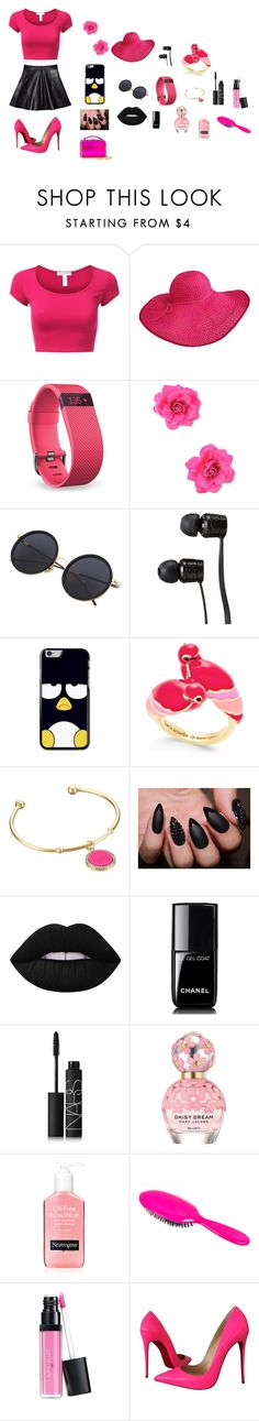 """""""hot pink"""" by animal-lover-8723 ❤ liked on Polyvore featuring Fitbit, Vans, Kate Spade, Lime Crime, Chanel, NARS Cosmetics, Marc Jacobs, Rock & Ruddle, Laura Geller and Christian Louboutin"""