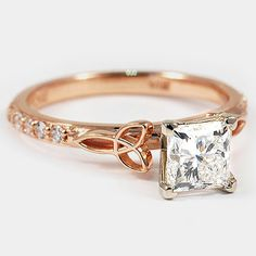 14K Rose Gold Luxe Celtic Love Knot Ring  // Set with a 1.00 Carat, Princess, Super Ideal Cut, D Color, VVS2 Clarity Diamond #BrilliantEarth