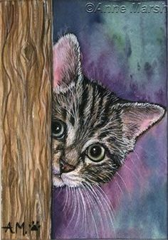 Neugierig Kitty will wissen, ob jemand hier süßes warmes Fuzzy-Schnurren mag Curious Kitty wants to know if anyone here likes sweet, warm fuzzy purring …. Cat Drawing, Painting & Drawing, Animal Paintings, Animal Drawings, Dog Art, Watercolor Art, Art Projects, Canvas Art, Illustrations