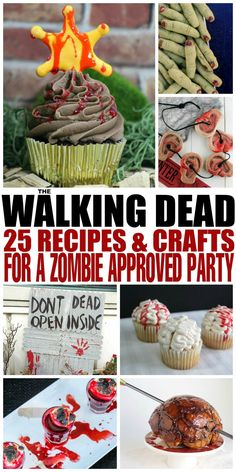 The Walking Dead: 25 Recipes and Crafts for a Zombie Approved Party - Frugal Mom Eh! Throw an unforgettable viewing party for The Walking Dead at home with these 25 recipes and crafts perfect for a zombie approved Walking Dead party. Bolo The Walking Dead, Walking Dead Zombies, Walking Dead Drinking Game, Zombie Themed Party, Zombie Birthday Parties, 11th Birthday, Zombie Party Foods, Naruto Birthday, Birthday Ideas