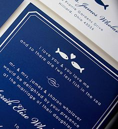 "Royal Blue Aquarium-Themed / Fish Wedding Invitation ""I love you and you love me & so there are two less fish in the sea"" Design by www.icandothatdesign.com"