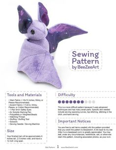 Stuffed Animal Bat Sewing Pattern, Plush Toy Pattern, PDFThis sewing pattern will help you create an adorable stuffed animal bat friend of your very own. These plush bats feature large ears and cute little faces. Unlike many other bat sewing pattern Sewing Projects For Beginners, Sewing Tutorials, Sewing Hacks, Sewing Crafts, Sewing Tips, Sewing Basics, Sewing Ideas, Sewing Designs, Learn Sewing