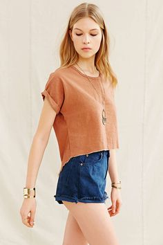 Urban Renewal Recycled High/Low Raw-Edge Top - Urban Outfitters