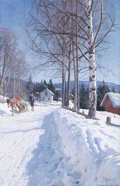 Winter landscape, Odnes-Valdres , 1931 - Peder Mørk Mønsted