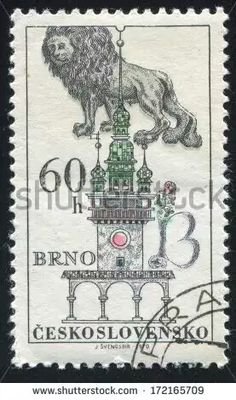 Stamp: Blue lion and Town Hall tower in Brno (Czechoslovakia) (House signs and portals) Mi:CS 1841 Czech Tattoo, Blue Lion, Mail Art, Home Signs, Postage Stamps, South America, Town Hall, Tower, Czech Republic