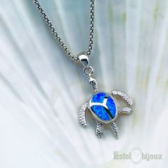 Collana Tartaruga Azzurra in Argento 925 #argento #tartaruga #collana #azzurra