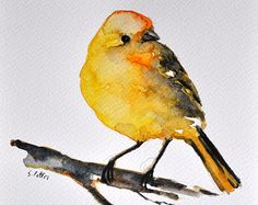 Peinture aquarelle originale, Canary Bird Illustration 6 x 8 pouces