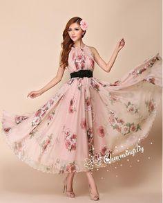 Chiffon Rose Flower Long Party Dress Evening by CHARMINGDIY
