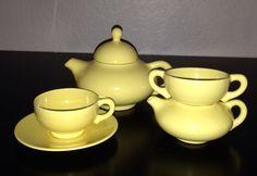 California Pottery 1930s Gladding McBean Franciscan El Patio single serve tea set Coffee Server, Vintage California, Kitchen Ware, Patio Table, Vintage Ceramic, Teapot, Bright Colors, 1930s, Beverage