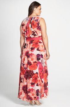 ShopStyle: Eliza J Floral Print Sash Tie Sleeveless High/Low Hem Maxi Dress (Plus Size) Pink Plus Size Dresses, Plus Size Gowns, Girl Fashion, Fashion Dresses, Womens Fashion, Beautiful Maxi Dresses, Summer Crop Tops, Chiffon Gown, Dress Me Up
