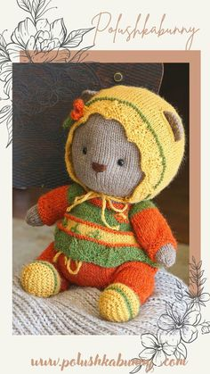Knitting: Cozy Teddy Outfit - Pattern by Polushkabunny Knitted Teddy Bear, Teddy Bear Knitting Pattern, Teddy Bear Clothes, Teddy Bear Toys, Clothing Patterns, Knitting Patterns, Cozy, Outfits, Doll Clothes