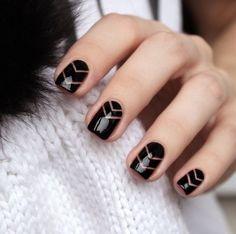 Black Negative Space Nail Art Design Autumn