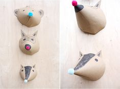 Kraft paper animal heads for the wall