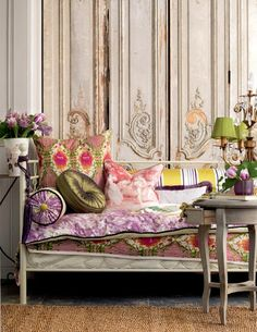 Bohemian Decor - Even classic rooms can take on a Bohemian look with a lovely mix of hues in patterned textiles like those atop this French daybed / Mari, writer for Arcadian Lighting Style At Home, French Daybed, Decorating Your Home, Interior Decorating, Decorating Ideas, Home Decoracion, Deco Boheme, Plywood Furniture, Modern Furniture