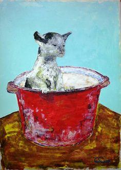 """Saatchi Art Artist George Sabin; Painting, """"Mad Kitty"""" #art"""