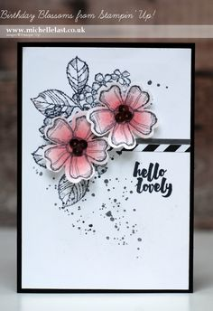 handmade greeting crd ... black and white with a bit of pink ... like the stamped background with shaped die cut flowers on top ... Stampin' Up!