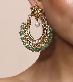 Green Stone  Kundan Embellished chaandbaalis