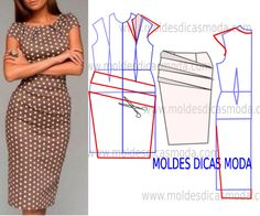 Vestido castanho estampado - Moldes Moda por Medida