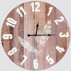 Horloge Horloge Plumes Bois et Blanc - 58 cm Horloge Plumes Bois et Blanc - 58 cm