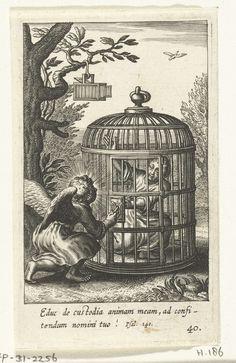 Engel bevrijdt kind uit gevangenschap in kooi, Boëtius Adamsz. Bolswert, 1590 - 1624