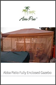 This fully enclosed, water resistant gazebo comes with mosquito netting to keep you safe from biting bugs, and has a vented canopy for wind resistance. Garden Canopy, Garden Gazebo, Garden Furniture, Furniture Sets, Enclosed Gazebo, Mesh Screen, Patio Umbrellas, Enjoy Summer, Curtain Fabric