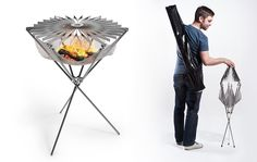 This foldable , portable barbeque is a lightweight fire-hammock. Grillo is from Form Axiom and we think it's brilliant. With the flick of your wrist, it turns into a barbeque