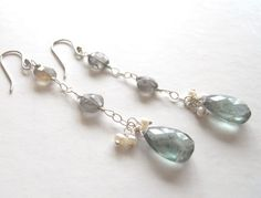 Charlize Earrings - Moss aquamarine and and pearl. http://www.etsy.com/listing/70720479/charlize-earrings?ref=af_shop_favitem