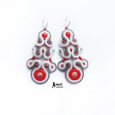 Gray and red big Soutache earrings Charming por MrOsOutache