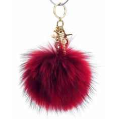 Pom Pom Fur Ball Keychain Bag Dangle Accessory-Racing Red with Metallic  Gold Hardware 0cf797c92ee96