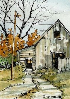 Fall Watercolor, Landscape Paintings, Watercolor Art Landscape, Watercolor Architecture, Watercolor Landscape Paintings, Painting Art Projects, Landscape Drawings, Barn Painting, Water Painting