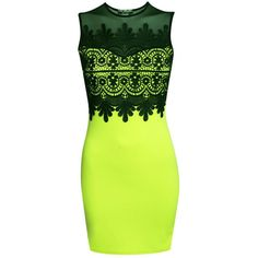 Pilot Eva Lace And Mesh Trim Sleeveless Bodycon Dress ($32) ❤ liked on Polyvore featuring dresses, lime green, green dress, sleeveless dress, body con dress, lace cocktail dress and bodycon dress