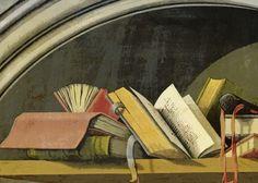 Still Life with Books in a Niche, Barthélémy d'Eyck, 1442 - 1445 - Rijksmuseum (detail) Print Artist, Artist Art, Portrait Art, Portraits, Built Ins, Cool Artwork, Poster Prints, Posters, Book Art