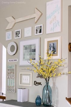 Vibrant Gallery Wall Art with pastel colors blue- Easy watercolors and pencil drawings are used to create this personalized happily ever after gallery wall with an emphasis on family.
