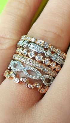 94aa89922fb1 Yellow Gold, Platinum, Rose Gold, and White Gold Diamond Stackers Uhren,  Kleidung