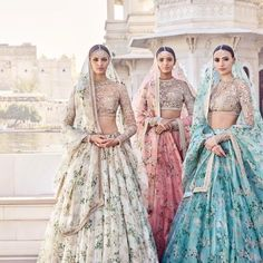 "Sabyasachi Mukherjee ""The Udaipur Collection"" Spring Couture Good options for a summer bride. Indian Bridal Outfits, Indian Designer Outfits, Indian Dresses, Indian Wedding Clothes, Lehenga Designs, Indian Bridesmaids, Party Kleidung, Bride Sister, Indian Lehenga"