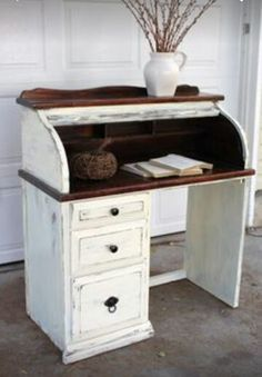 Really Like This Distressing And Use Of Stain On Heavily Used Areas Shabby Rolltop Desk Vintage Farm Furniture