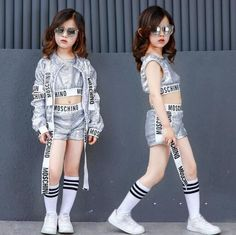 Kids Jazz Hip Hop Modern Dance Costumes For Girls Silver Sequin Dancing Wear Clothing Children Sports Suit Outfits Hipster Outfits, Celebrity Casual Outfits, Girl Costumes, Dance Costumes, Children Costumes, Hip Hop Costumes, Hip Hop Fashion, Kids Fashion, Dance Team Shirts
