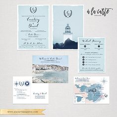 Costa Brava Spain bilingual English Spanish Destination Wedding Invitation Mediterranean Nautical Lighthouse Illustrated