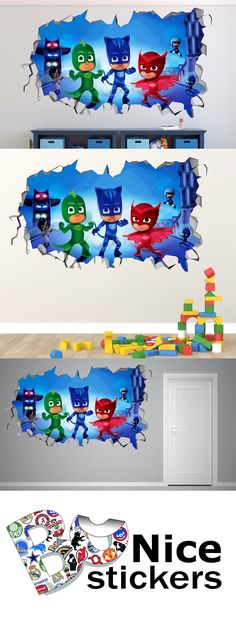 Decals Stickers and Vinyl Art 159889: Pj Masks Smashed 3D Wall Decal Kids Sticker Decor Vinyl Mural Poster -> BUY IT NOW ONLY: $39.99 on eBay!